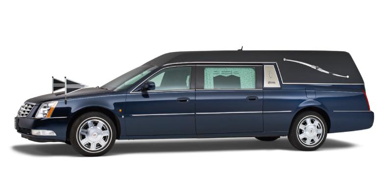 Rouwauto's R-12 Rouwauto--Cadillac---Blauw----Uitvaart-Midden-Delfland